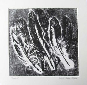 Feather Monoprints: Shadows
