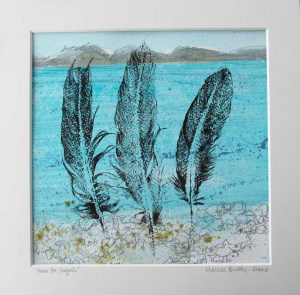 Feather Monoprint: Here Be Seagulls