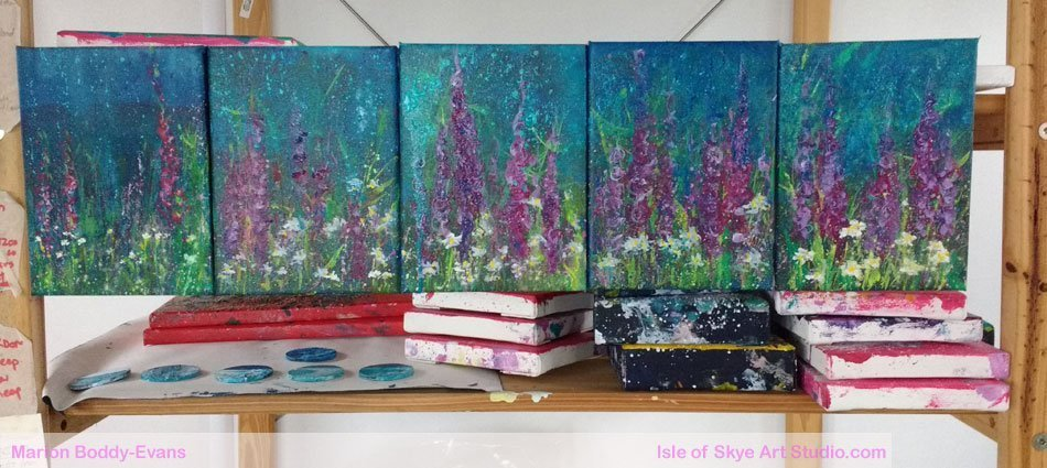 Five Small Flower Paintings by Isle of Skye artist Marion Boddy-Evans