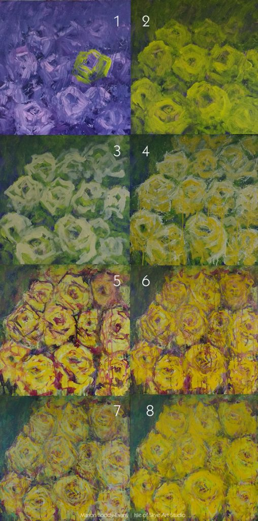 Step by Step: Yellow Roses Painting in Progress