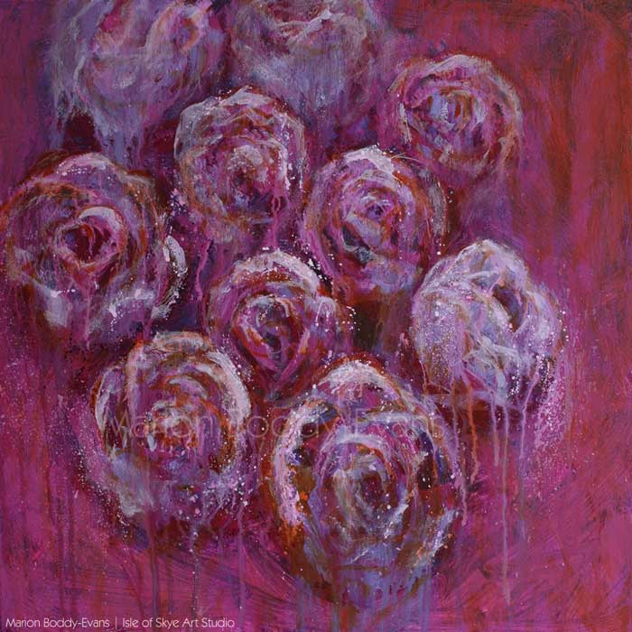 That Moment. Floral flower rose painting by Marion Boddy-Evans