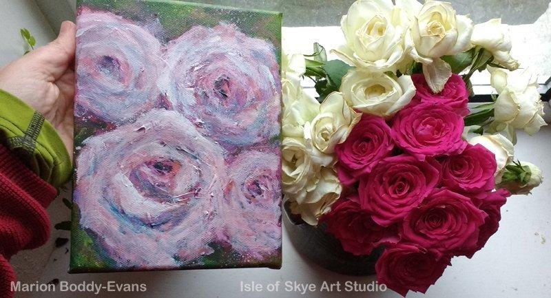 Rose Painting vs Roses