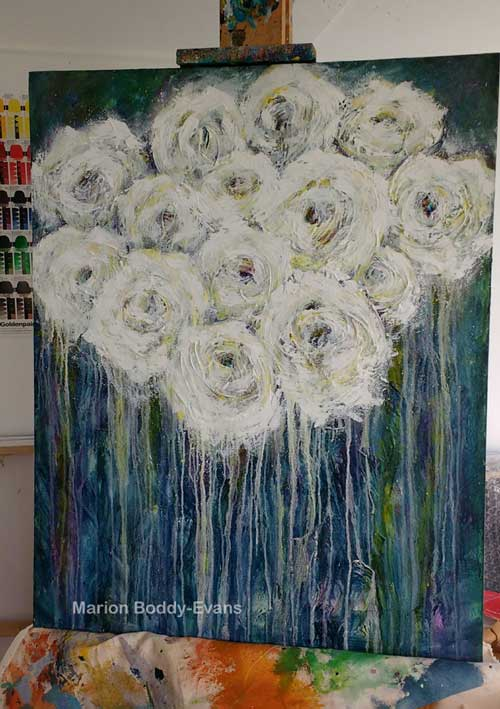Flower Painting: Symphony in White and Yellow