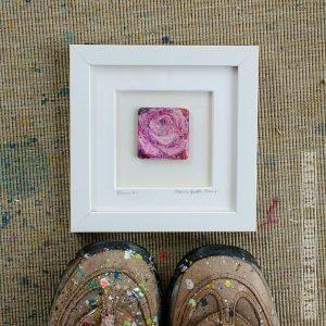White frame bloom rose painting