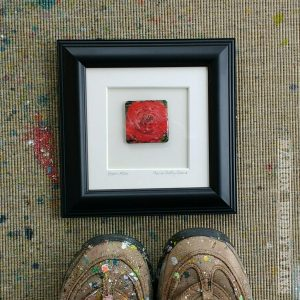 Black frame bloom rose painting