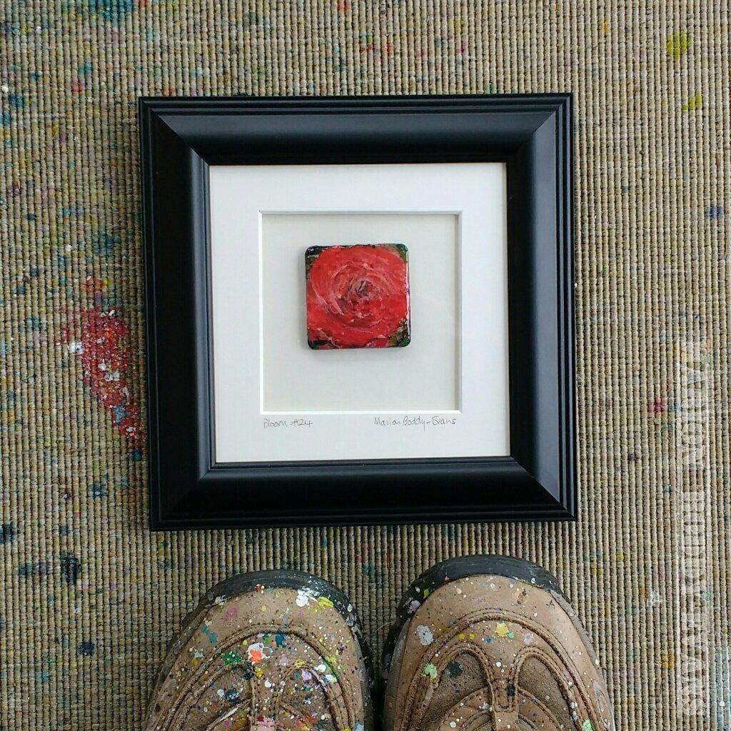Black frame bloom rose painting