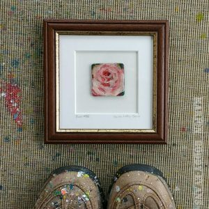 Brown and gold frame bloom rose painting