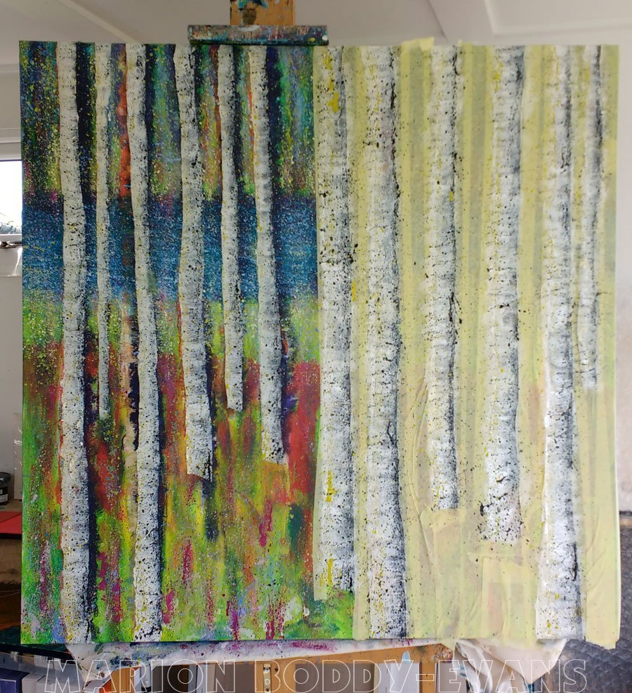 WIP Tree Painting May2016: Tape Removal