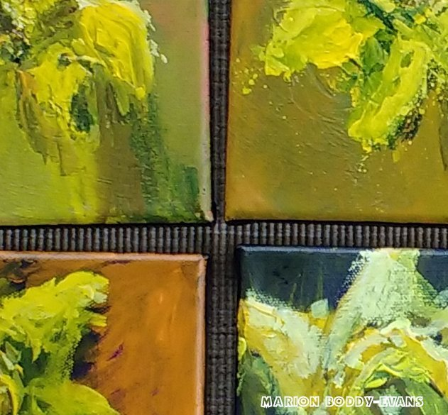 Detail: Four Small Daffodil Paintings