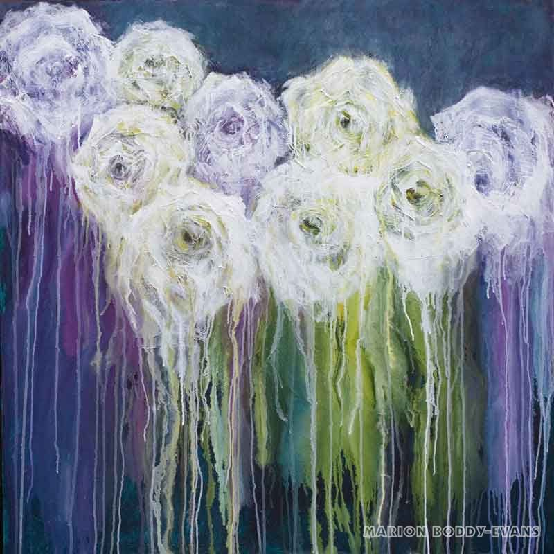 Symphony in White. 100x100cm. Acrylic on canvas Rose painting by Marion Boddy-Evans