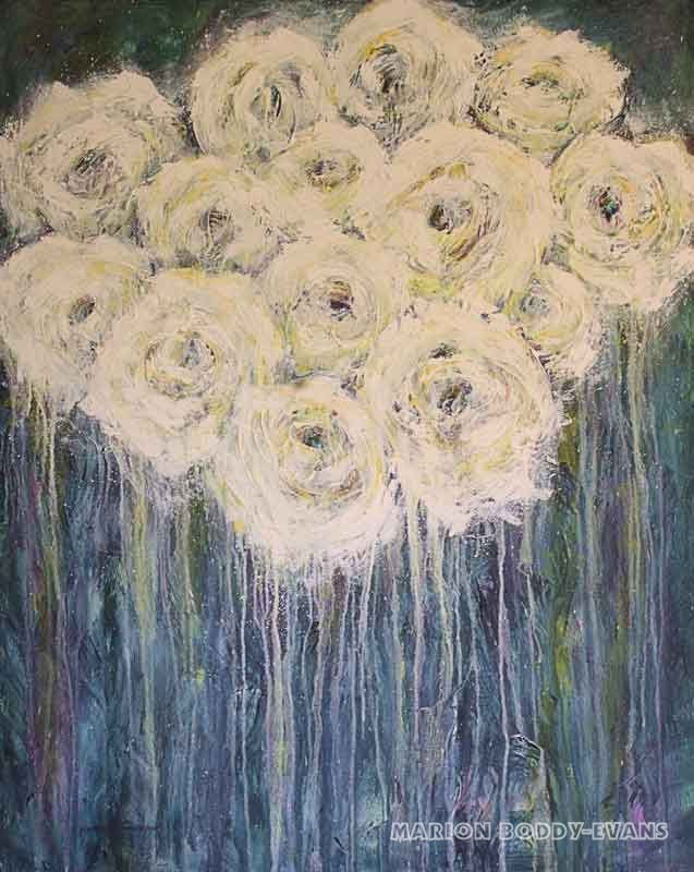 Concerto in White roses painting