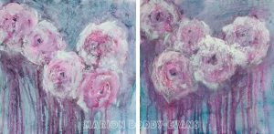 Pink Rose Diptych painting