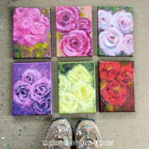 Pink Roses paintings by Marion Boddy-Evans