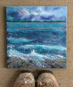 Seascape Purple Storm painting by Marion Boddy-Evans