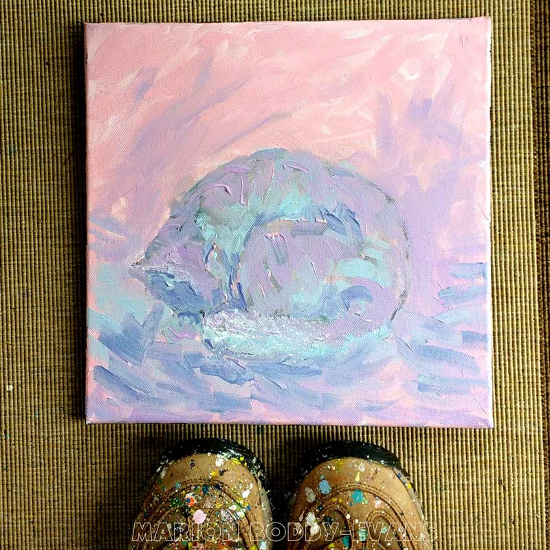 Cat in Pale Colours painting