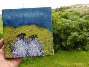 Complicated Greens, with sheep painting by Isle of Skye Artist Marion Boddy-Evans