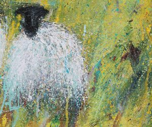 Detail from Sheep Painting Coral Beach Picnic painting