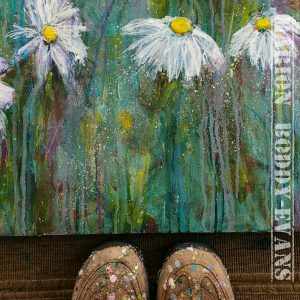 Painting in Progress: Daisy Lines Detail with shoes