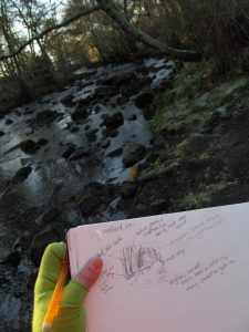 Sketching at Uig River