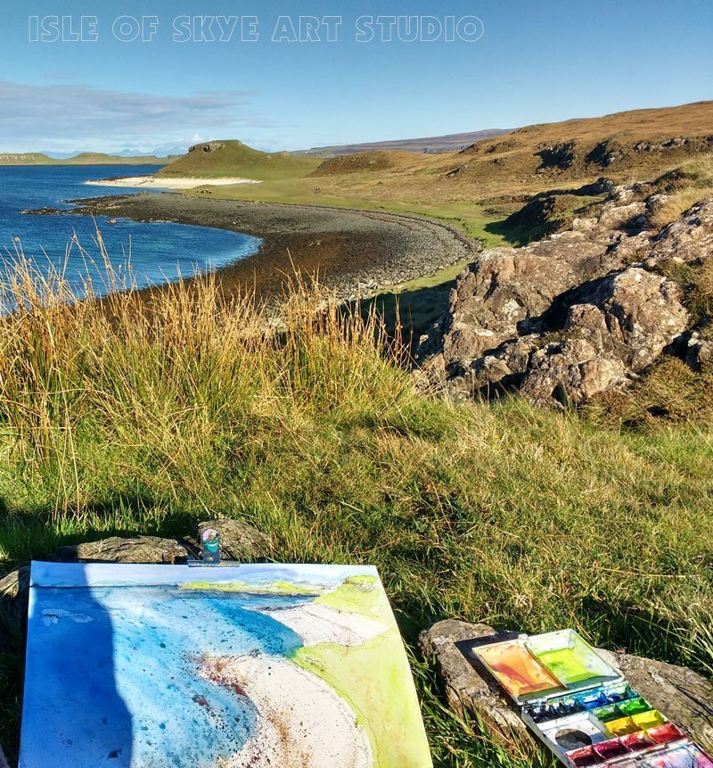 Coral Beach sketching Isle of Skye