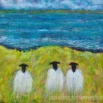 Three sheep sea painting by Marion Boddy-Evans
