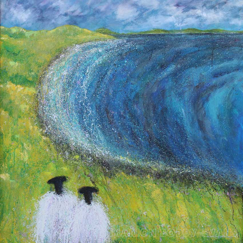 Sheep Painting Watching Waves
