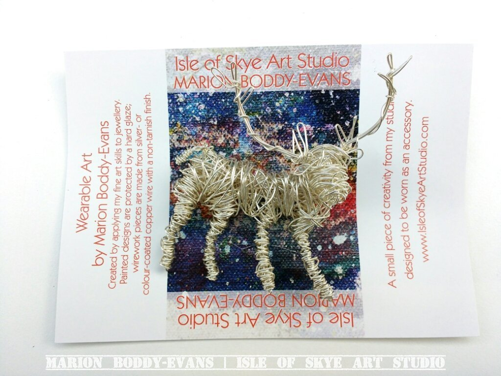 Wirework Stag Brooch by Marion Boddy-Evans Isle of Skye Art Studio