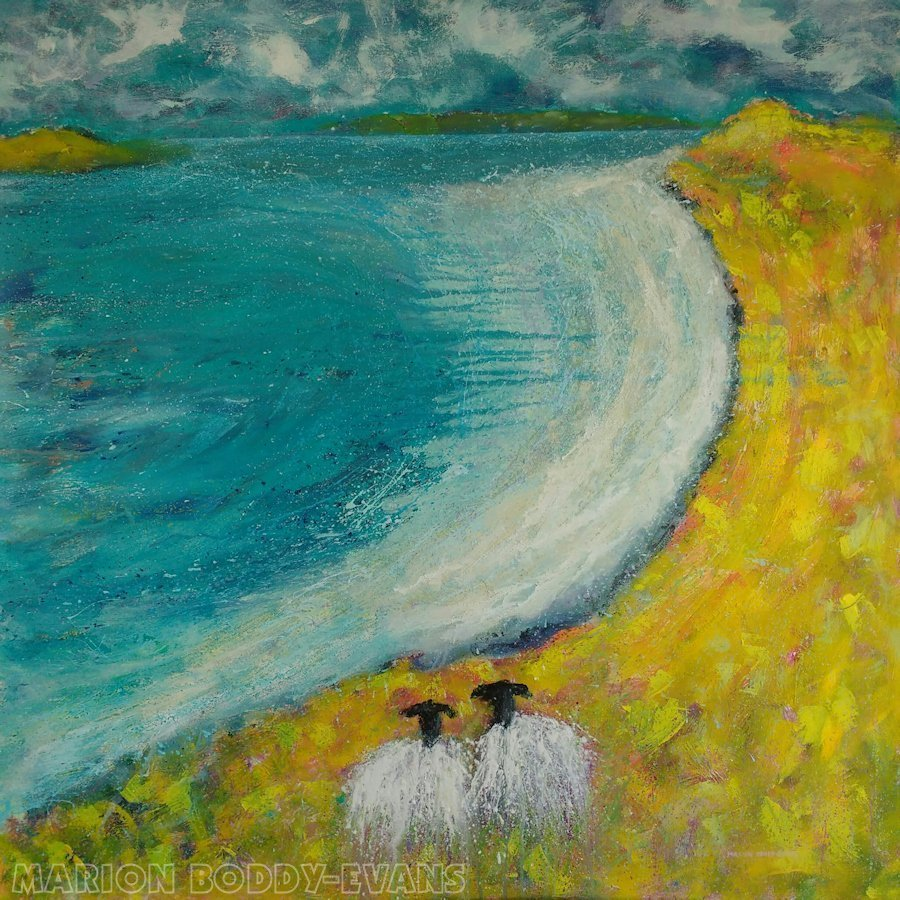 A Stroll on the Beach (Sheep Painting)