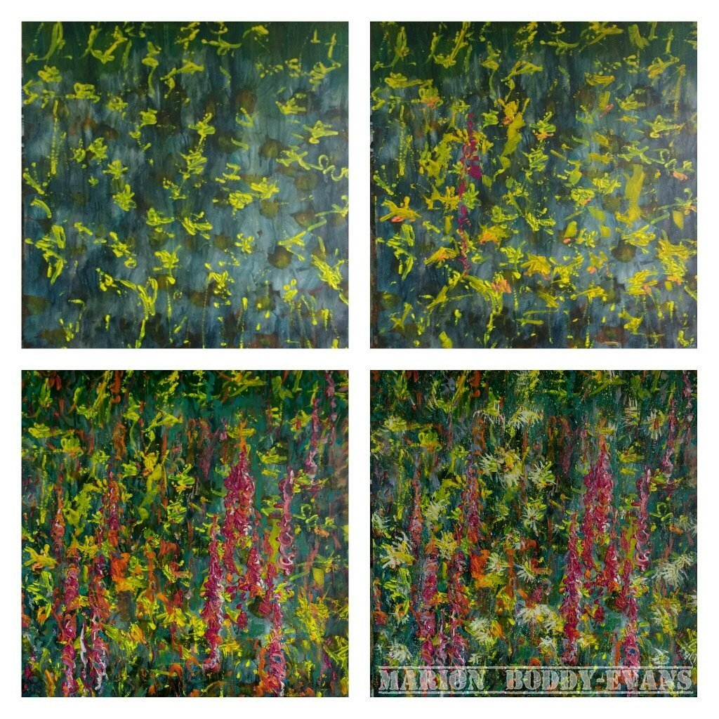 Four steps in a flower painting-in-progress by Marion Boddy-Evans Scotland Art