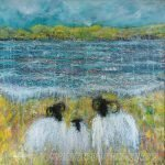 Spring Garden Party sheep painting by artist Marion Boddy-Evans
