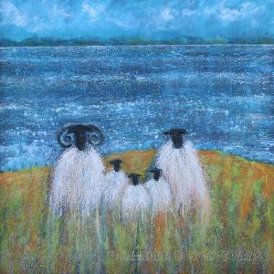 Sheep painting by Skye artist Marion Boddy-Evans