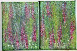 Ascending Pinks Foxgloves studies by Marion Boddy-Evans Isle of Skye Scotland Artist