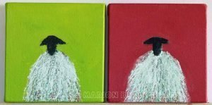 Green and Red Sheep by Marion Boddy-Evans Isle of Skye Scotland Artist