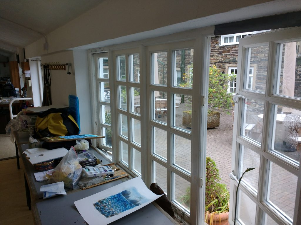 Higham Hall view from studio into courtyard