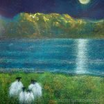 Moon Watching sheep painting by Marion Boddy-Evans