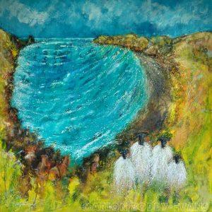 Picnic at Talisker Bay sheep painting by Marion Boddy-Evans