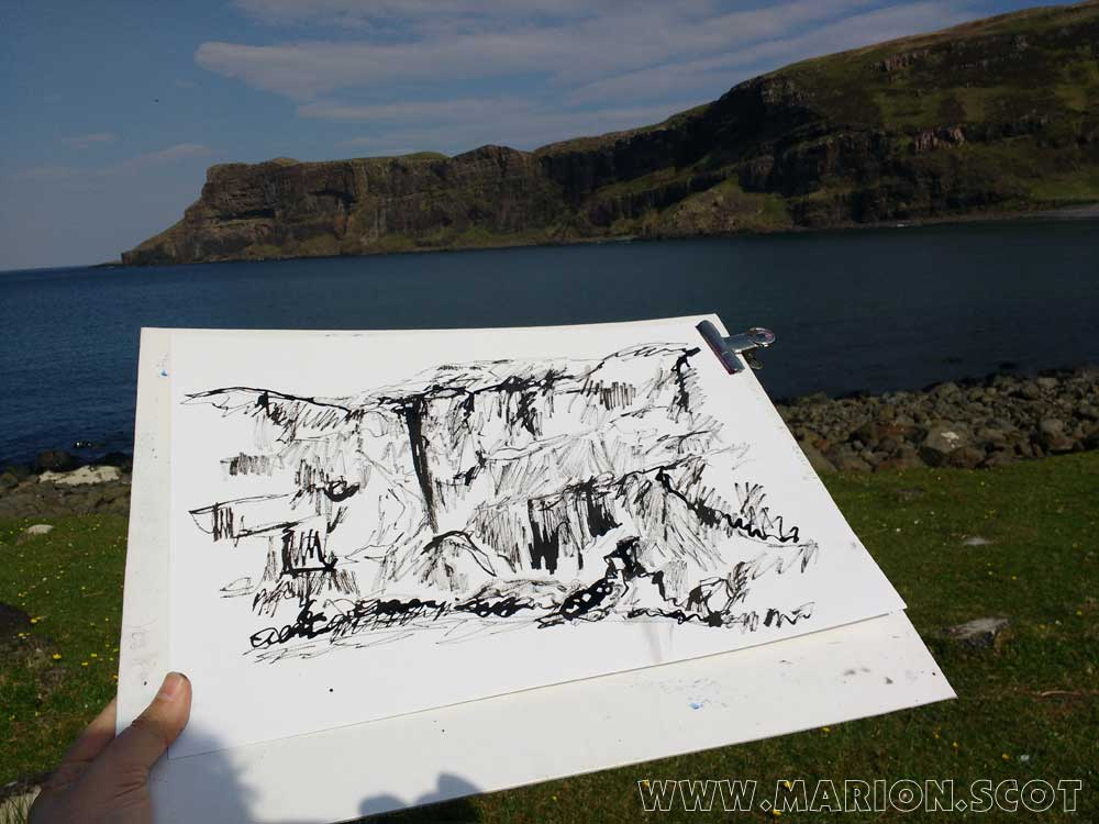 Ink Sketching at Talisker Bay Isle of Skye
