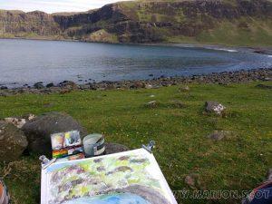 Sketching at Talisker Bay, Skye