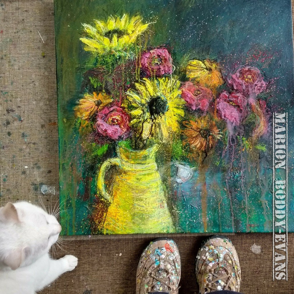 Yellow Jug Flowers Painting by Marion Boddy-Evans