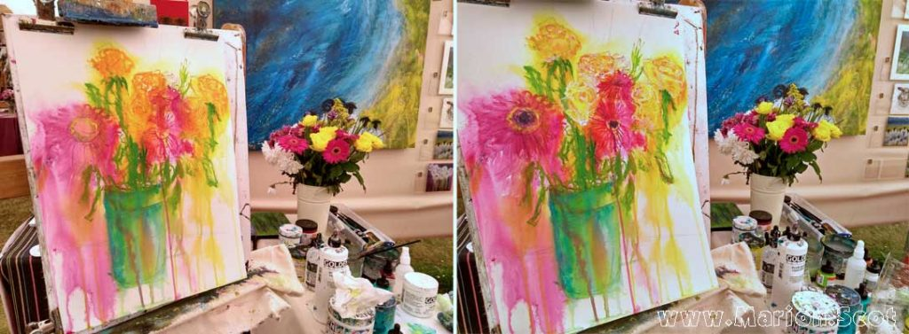 Paintings flowers at Patchings Art Festival Marion Boddy-Evans