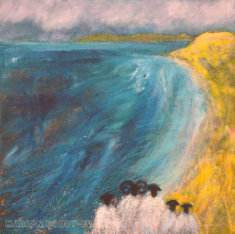 She Sees Sheep on the Sea Shore painting by Marion Boddy-Evans