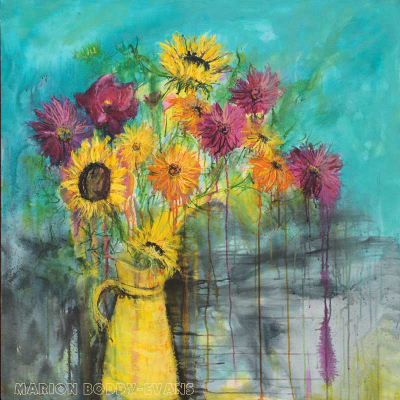 The Yellow Jug flower still life painting by Marion Boddy-Evans