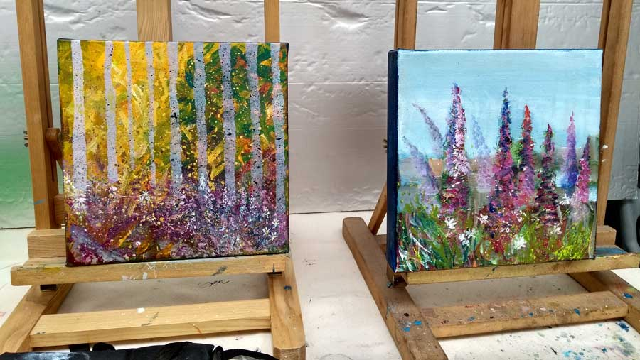 Paintings sold at 2017 Skyeworks Gallery charity exhibition by workshop participants