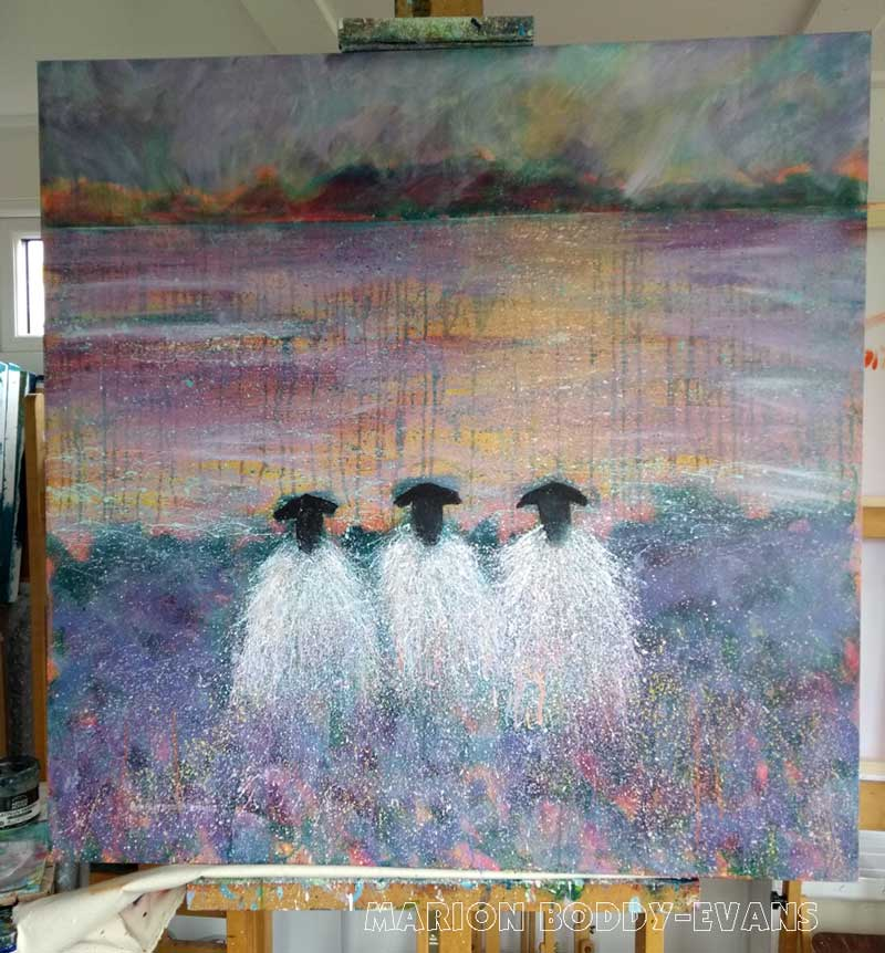 The W.I. Committee Sheep Painting by Marion Boddy-Evans