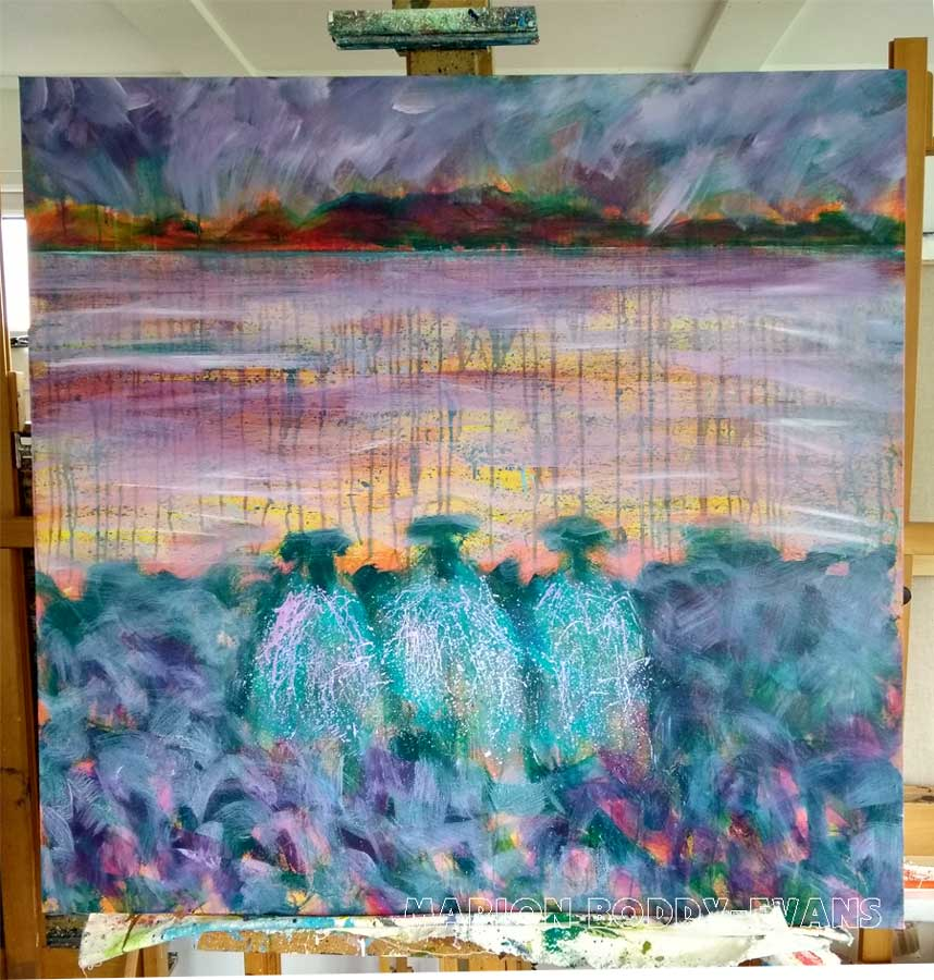 Work in Progress -- The W.I. Committee Sheep Painting by Marion Boddy-Evans