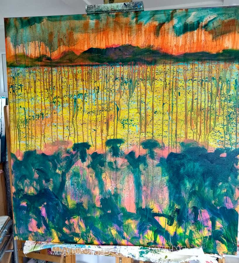 Work in Progress of The W.I. Committee Sheep Painting by Marion Boddy-Evans