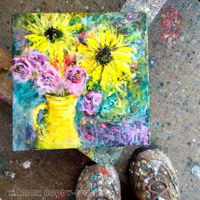 Yellow vase and sunflowers painting by Marion Boddy-Evans