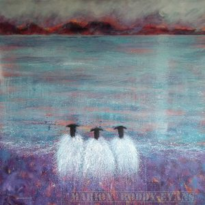 "Sheep painting by Marion Boddy-Evans ""Heather Weather"" in purples and lilacs"