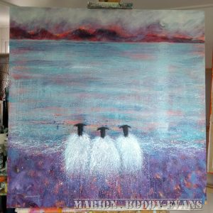 "Sheep Painting: ""Heather Weather"" by Marion Boddy-Evans"