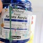 Ultramarine blue jar of paint